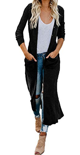 TOTREND Women's Boho 3/4 Sleeve Long Cardigan Sweaters V Neck Slim Fit Open Front Button Down Knitted Draped Maxi Blouse Coat (Black,2X-Large)