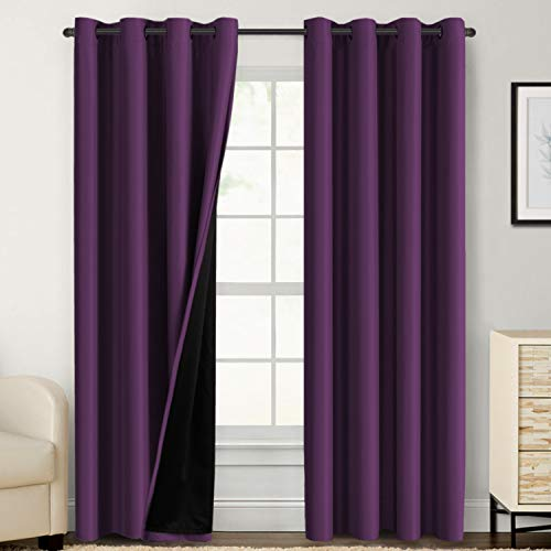 100% Blackout Curtains for Bedroom 84 Inches Long Thermal Insulated Lined Curtains for Living Room Double Layer Full Light Blocking Energy Saving Grommet Drapes Draperies, 2 Panels, Indigo Plum