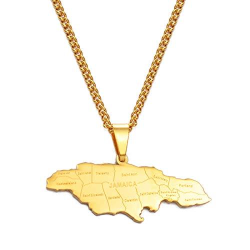 Mapa De Jamaica con Collar con Colgante De Ciudad De Acero Inoxidable para Damas Y Hombres, Jamaica, Jamaica, Mapa, Cadena, Regalo, Regalo, Número # 071021P