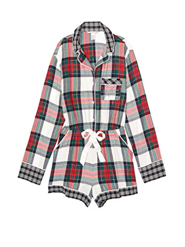 Victoria's Secret Flannel Romper Pajamas Ivory/Red/Green Plaid Small