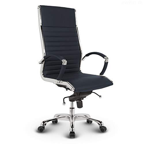 VERSEE Design Bürostuhl Chefsessel Montreal - Echt-Leder - dunkelblau - Drehstuhl, Bürodrehstuhl, Schreibtischstuhl, Chefstuhl, Designklassiker, hochwertige Verarbeitung, Stuhl, 150 kg belastbarkeit