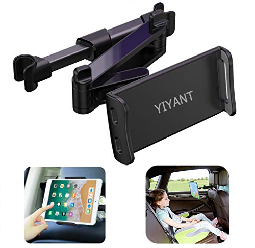 """Car Headrest Mount, Stretchable Car Backseat Seat Mount/Tablet Headrest Holder Universal 360° Rotating Adjustable for All 4""""-10.6"""" cellphones/Tablet Switch iPad iPad Air iPad Mini,Samsung Galaxy ect"""
