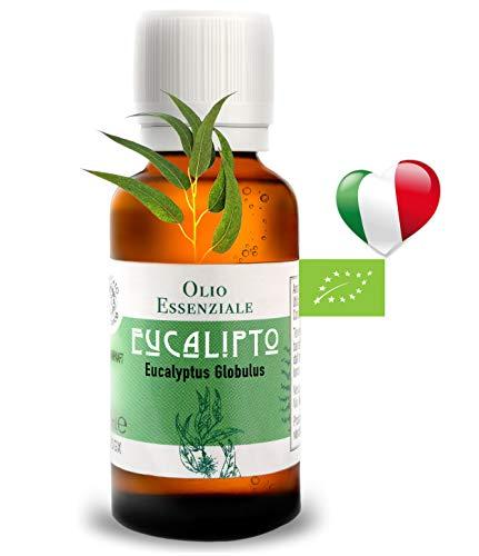 Olio Essenziale Biologico Alimentare Eucalipto 30 ml, PRODOTTO IN ITALIA, Essenza Naturale, Puro, Profumo Per Diffusore, Diffusori ultrasuoni, Umidificatore Ambienti, Olii Per Diffusori