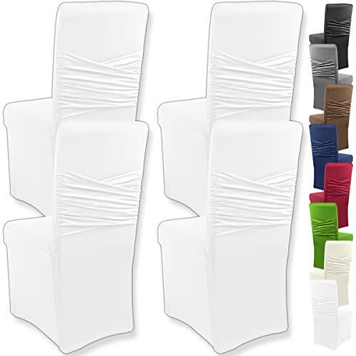 """Gräfenstayn 4pcs Fundas para sillas elásticas Victoria - respaldos Redondos y angulares - Paquete Benefit - Ajuste bi-elástico con Sello Oeko-Tex Standard 100:""""Confianza verificada (Blanco)"""