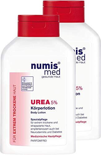 numis med Körperlotion mit 5% Urea - Hautpflege parfümfrei & vegan - Bodylotion für sensible, zu Neurodermitis neigende & trockene Haut - Lotion im 2er Pack (2x 300 ml)