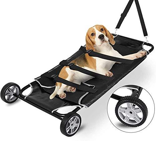 GLJY Haustierbahre Tierbahre, 48x26 Zoll Haustierwagen mit Rädern, max. 250 lbs Kapazität, schwarz
