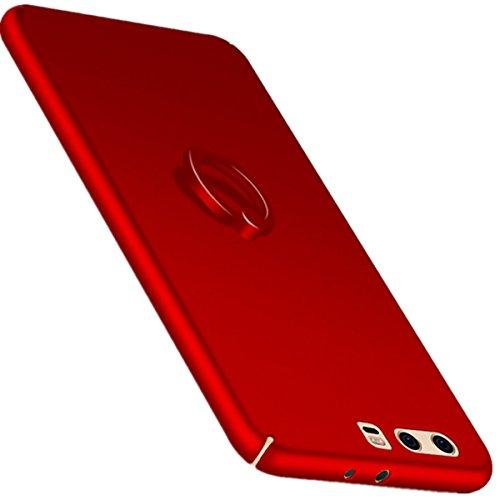 Hoes compatibel Huawei P10, dun schokbestendig glad bumper hardcase krasbestendig anti-vingerafdruk bumper telefoonhoes met vingerhouder/ring slim beschermhoes compatibel Huawei P10 Plus (rood, P10)