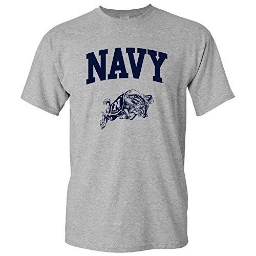 UGP Campus Apparel AS03 - Navy Midshipmen Arch Logo T-Shirt - Medium - Sport Grey