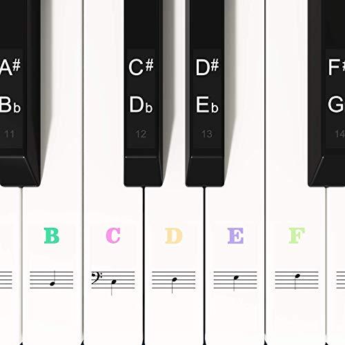 Adesivi colorati per pianoforte per tasti 88/61/54/49, adesivi per tastiera per tasti bianchi e neri, trasparenti e rimovibili, perfetti per i principianti