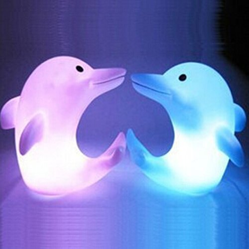 Liroyal Pack of 2 Color Changing Desk Bedroom Party Wedding Lamp LED Night Light,Dolphins