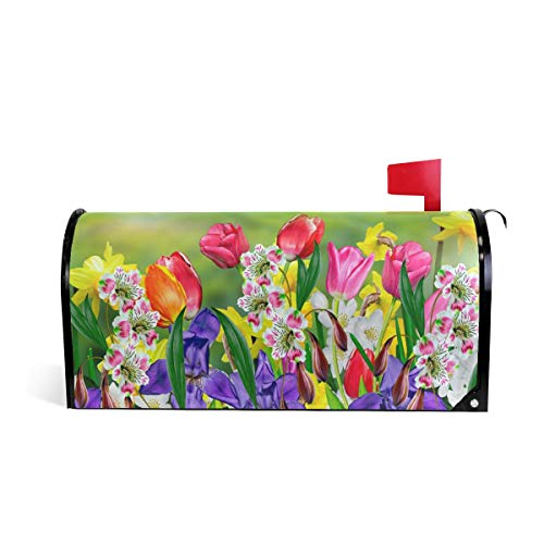 "WOOR Spring Summer Flowers Daffodils and Tulips Magnetic Mailbox Cover Oversized Garden Yard Home Decor for Outdoor-20.8""x 25.5"""