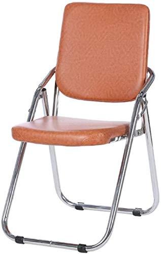 Equipo de espesor PU silla plegable, la silla plegable es fácil de almacenar equipo esponja al aire libre de la oficina balcón terraza, 46x53x86cm (color: marrón), Color: Negro ( Color : Brown )