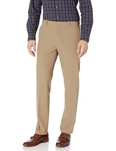 Van Heusen Men's Flex Straight Fit Flat Front Pant, Khaki, 36W x 34L