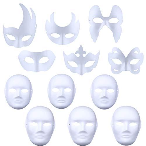 White Mask, Coxeer 12PCS DIY Unpainted Masquerade Masks Plain Half Face Masks DIY White Masks for Kids Adult Halloween Christmas Mask Mardi Gras Mask