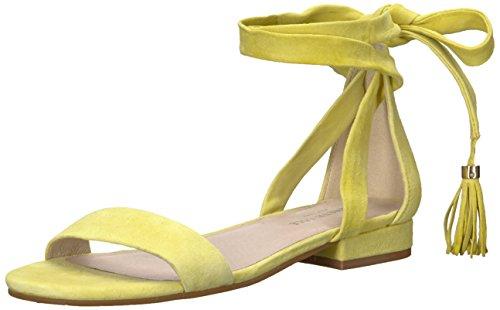 Kenneth Cole New York Women's Valen Strappy Ankle WrapSandal with Tassel Flat Sandal, Lemon, 7.5 M US