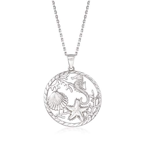 Ross-Simons Sterling Silver Sea Life Pendant Necklace. 18 inches