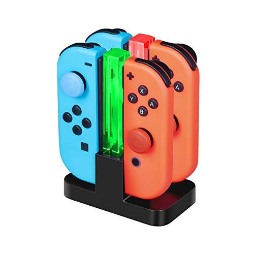 CHEREEKI Base de Carga para Switch, 4 en 1 Cargador para Nintendo Switch Joy-con Chargers Dock con Indicador LED