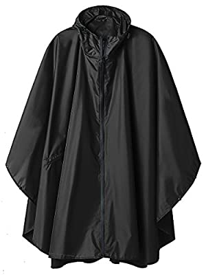 SaphiRose Hooded Rain Ponchos Outdoor Waterproof Raincoat Jacket for Adults with Zipper (Black)
