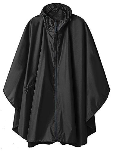 LINENLUX Summer Mae Regen Poncho Jacke Mantel für Erwachsene mit Kapuze wasserdicht mit Reißverschluss im Freien,Einheitsgröße,Schwarz