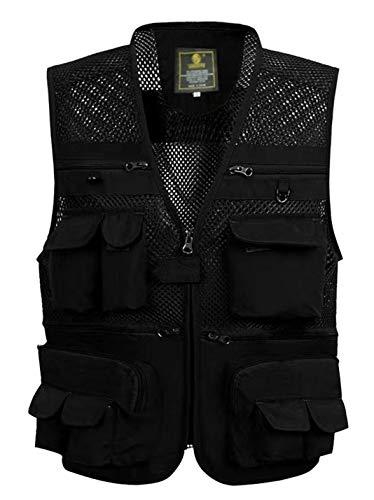 Yimoon Men's Summer Outdoor Pockets Lightweight Utility Fishing Travel Vest (Black 02Mesh, Small)