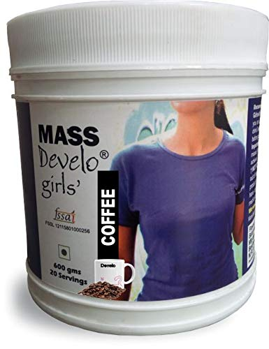 Develo Weight Mass Gainer Protein Shake Powder for Fast Gain in women girls, Nutrition Food Supplement, Health Drink with Natural Fat Energy I 27 Vitamins & Minerals I 600gm Coffee Flavour