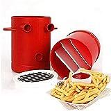 2 in 1 per patatine fritte, patate, affettatrici per patate fritte fritte, contenitore per microonde, per mele, cetrioli, cipolle, carote (rosso)