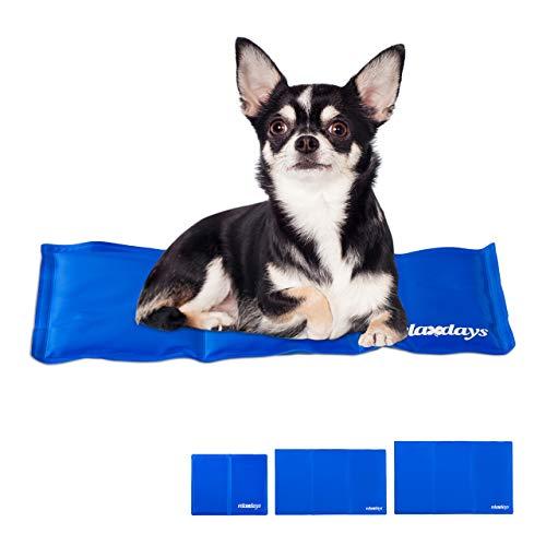 Relaxdays Kühlmatte Hund, selbstkühlend, abwischbar, robust, mit Gel, Kühldecke für Tiere, Kältedecke 20 x 35 cm, blau