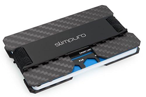 SLIMPURO® Kreditkartenetui mit Münzfach ATTO-Carbon Slim-Wallet mit Aluminium CoinCard – RFID Schutz - Kartenetui mit Geldklammer - Mini Geldbörse Geldbeutel - Designed in Germany (Schwarz Metal)