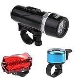 AASSXX Luz de bicicletasJuego de Luces traseras Delanteras de plástico para Bicicleta de 3 uds, Luces de Advertencia de Linterna para Bicicleta, Campana ruidosa, Equipo para Montar en Bicicleta