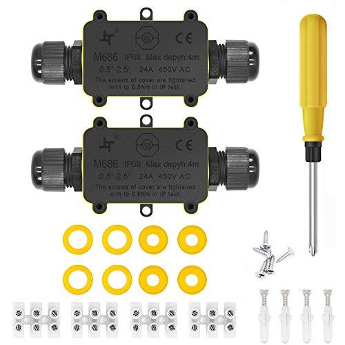 Scatole di derivazione,IP68 Scatole Impermeabili Esterno Scatole per Collegamenti per 4-9 mm Diametro Cavo,Nero Scatola di Giunzione Esterno Connettore Cavi Elettrici Impermeabile (2 Pack)