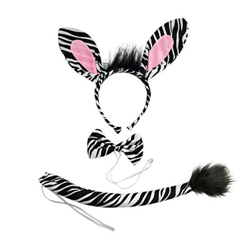 Amosfun zebra kostüm set stirnband ohr krawatte und schwanz zubehör für maskeraden cosplay party halloween leistung requisiten 3 stücke in 1 satz