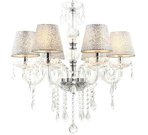 Klassischer Glas Kristall Kronleuchter Lampenschirm Hängelampe Hängeleuchte 60cm x max. 80cm(H) 6 Arm Lewima Melion