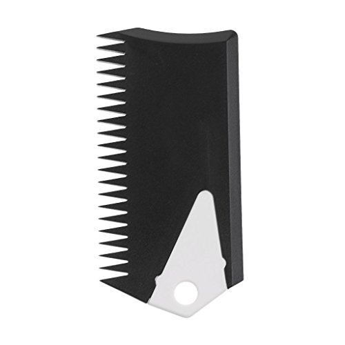 Cepillo de Cera de Surf de plástico Cepillo de Tabla de Surf de Sup Eliminar el Peine con la Llave de Aleta Negro