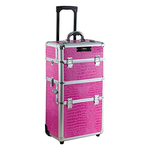 TROLLEY ESTETISTA E PARRUCCHIERE PROFESSIONALE BEAUTY CASE RIGIDO MAKE UP TRUCCHI NAIL ART (FUCSIA)
