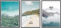 モダンペインティング3ピース40x60cmフレームなしシンプルな美しい風景画ブルーシースカイビーチバケーションホリデーポスタープリントレターホームウォールアートデコレーション