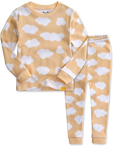 Vaenait Baby Kids Girls 100% Cotton Sleepwear Pajamas 2pcs Set Long Cloud Yellow XL