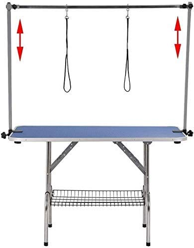 Pet Grooming Table for Large Dogs Adjustable Professional - Portable Trimming Drying Table w/Arm/Noose/Mesh Tray, Maximum Capacity Up to 330LB