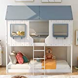 Merax House Shaped Solid Wood Bunk Bed with Roof, Window, Guardrail and Ladder for Kids, Teens, Girl or Boys Loft, Twin Over Twin, White