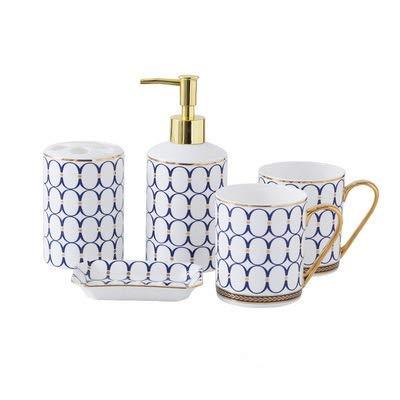 No-Branded Bathroom Accessory Bathroom Accessories Set Ceramic Soap Dispenser Toothbrush Holder Gargle Cups Soap Dish Set Head Wedding Gift YUXUJ (Color : 6, Size : Free)