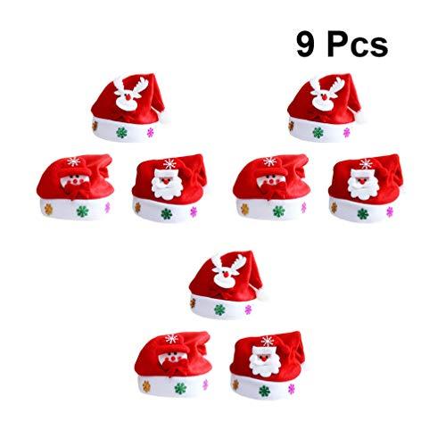 Toyvian 9pcs Beleutende Weihnachtsmützen Nikolausmütze Licht Weihnachten Hut mit LED Leuchtend Kopfdeckung für Kinder Erwachsene (Nikolaus Rentier Schneemann)