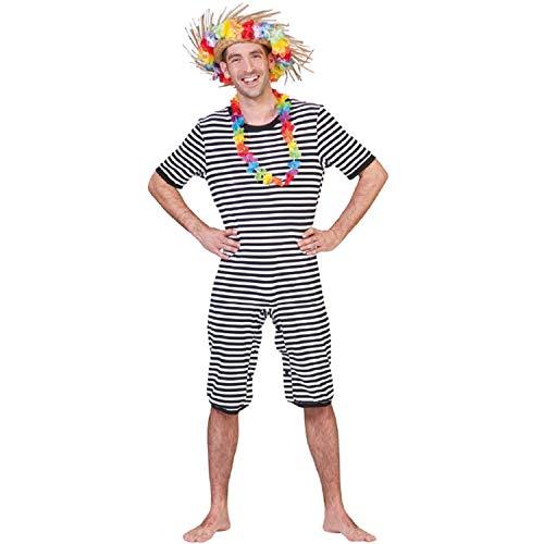 Krause & Sohn Unisex Kostüm Retro Badeanzug schwarz-weiß historisch Beachparty Fasching XL