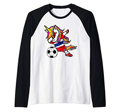 Dabbing Unicorn Tailandia Fútbol Bandera Tailandesa Camiseta Manga Raglan