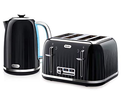 Impressionen Wasserkocher & Toaster Set mit 4 Scheiben Toaster & Wasserkocher, Schwarz