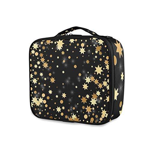 Trousse de toilette Pochette de maquillage Pochettes de rangement Portable Voyage Golden Star Dots Outils Cosmetic Train Case