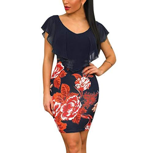 Auifor Vestido de Gasa con Cuello Redondo y Estampado Floral de Gasa de Costura Informal para Mujer