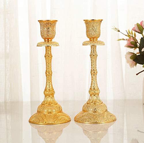Cozywind Juego de 2 candelabros decorativos de metal para velas, decoración de mesa de boda