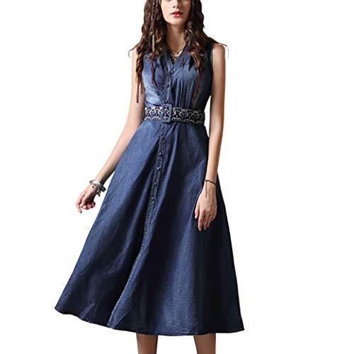 E-girl Damen Bestickt Swing Jeanskleid Ohne Arm Kleid,DA82093,Blau,M