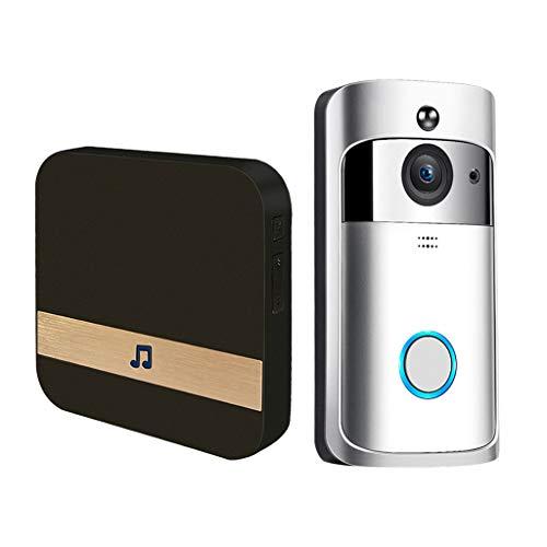 H HILABEE Inalámbrico Wifi Video Timbre 2Way Talk Chime Cámara de Seguridad 1080P Ue Plata - Plata