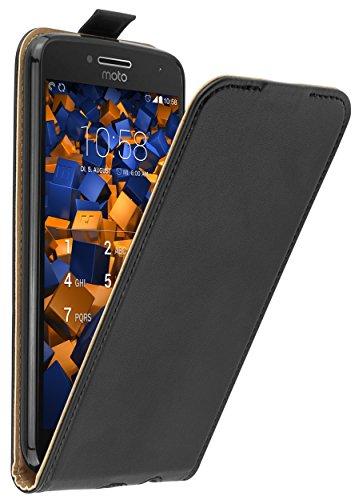 mumbi Tasche Flip Hülle kompatibel mit Lenovo Moto G5 Plus Hülle Handytasche Hülle Wallet, schwarz