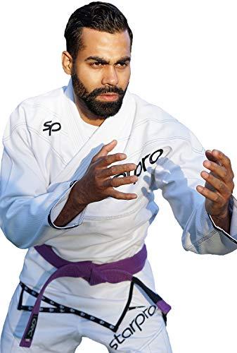 Starpro BJJ Uniforme Gi Brasiliano - Karate alle Prese Uniforme Jiu-Jitsu Kimono Formazione Professionale Competizione Arti Marziali | Tessuto in Cotone Bianca Nero Uomini e Donne (A0 A1 A2 A3 A4 A5)